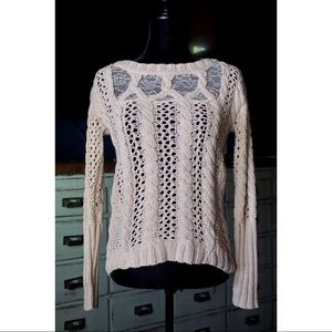 Anthropologie Future Paradise Lace Cable Sweater